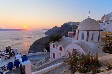 île de Santorin île Cyclades Grèce coucher de soleil