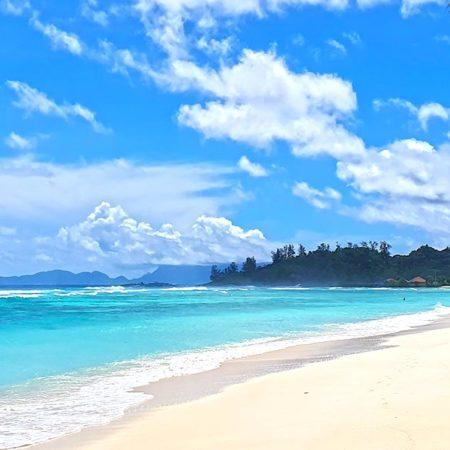 Vue d'une plage paradisiaque des Seychelles