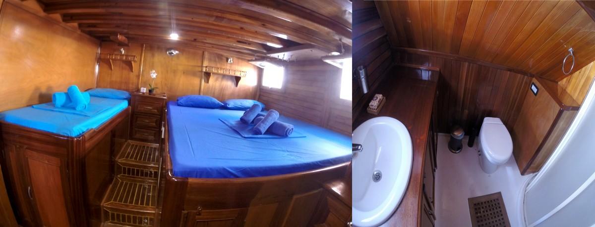 cabine master double à 2 lits dans goélette