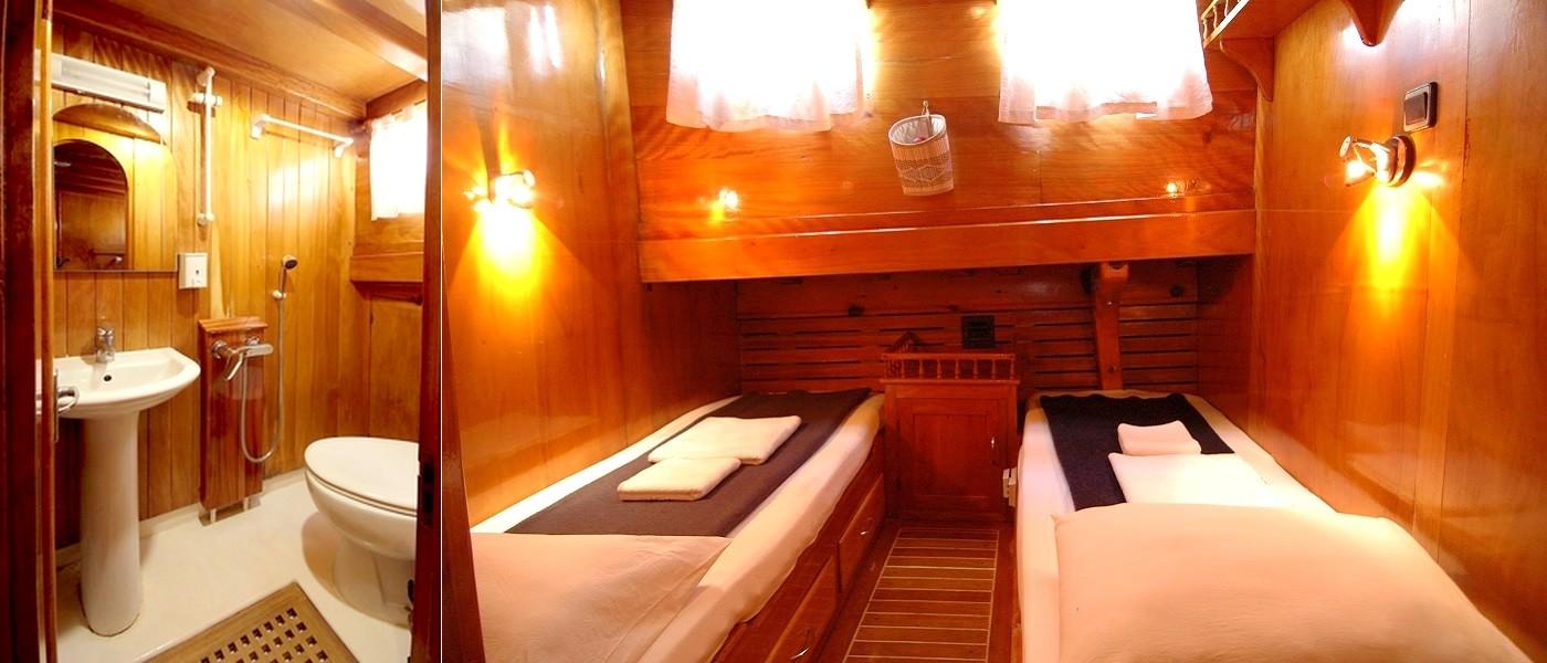 cabine standard à 2 lits sur la goélette croisière cyclades